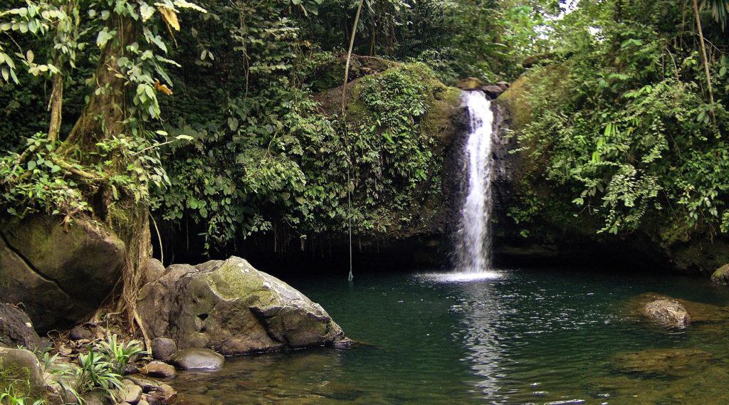 Cascada de aguas verdes